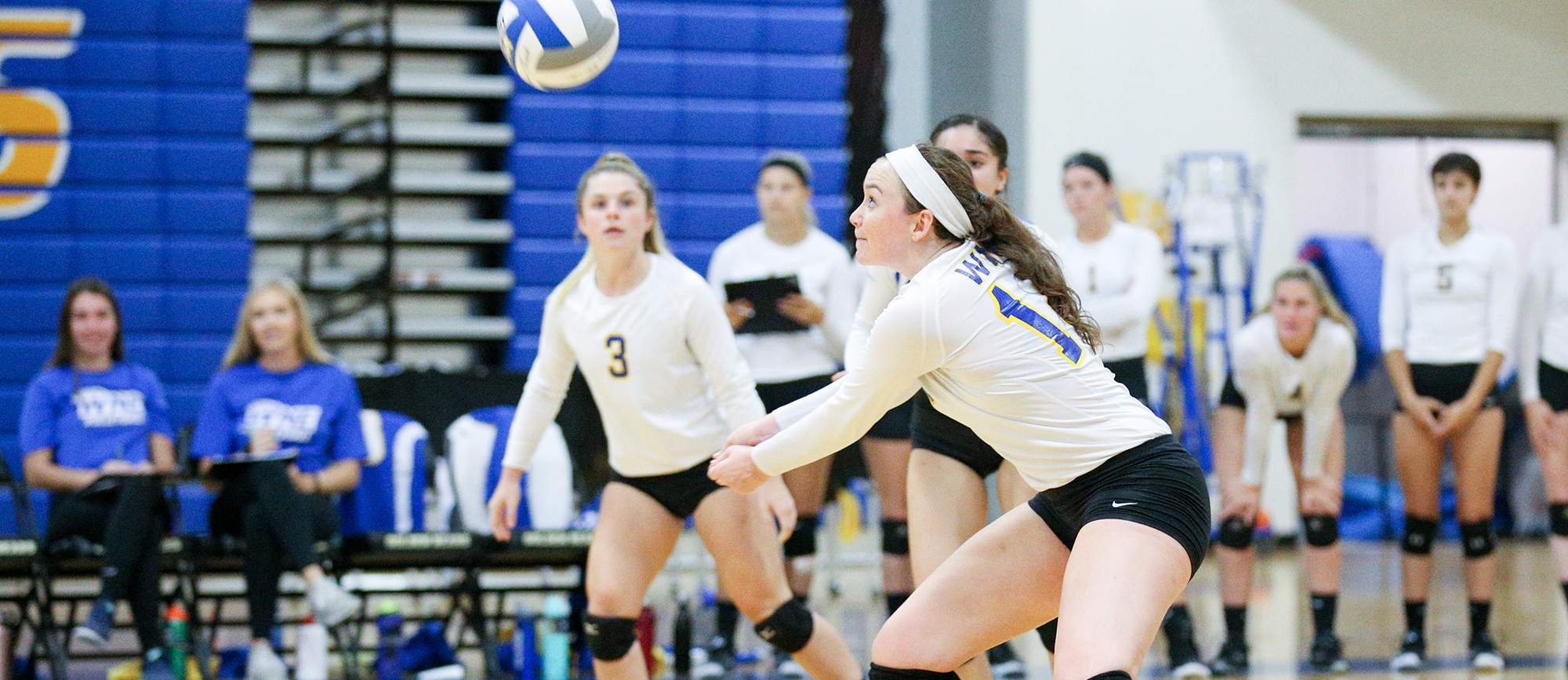 Senior Jenna Ferguson recorded a double-double with ten kills and 18 digs in Western New England's 3-1 win over Smith on Wednesday. (Photo by Chris Marion)