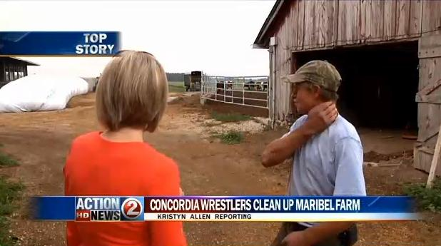 Wrestling helps Maribel farmer clean up after tornado