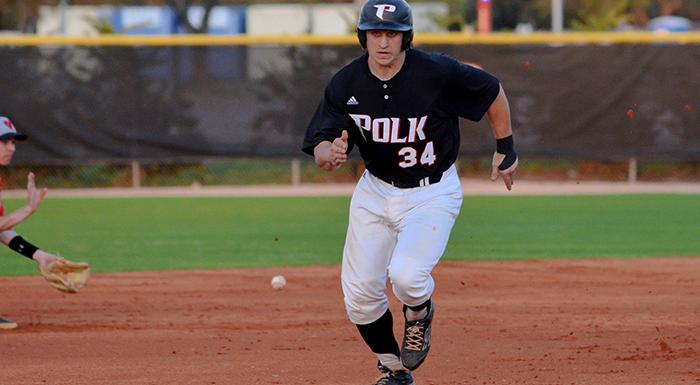 JD Osborne doubled, drove in two runs, and scored a run in Polk State's four-run first inning against Tampa JV. (Photo by Tom Hagerty, Polk State.)