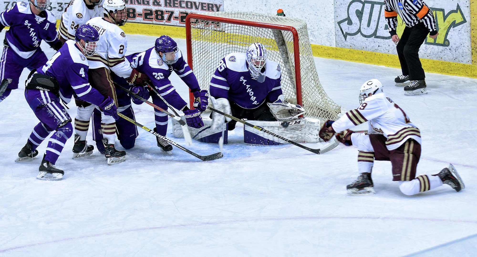 Junior Tyler Bossert has his game-tying shot stopped in the final seconds of the Cobbers' MIAC Championship Game battle.