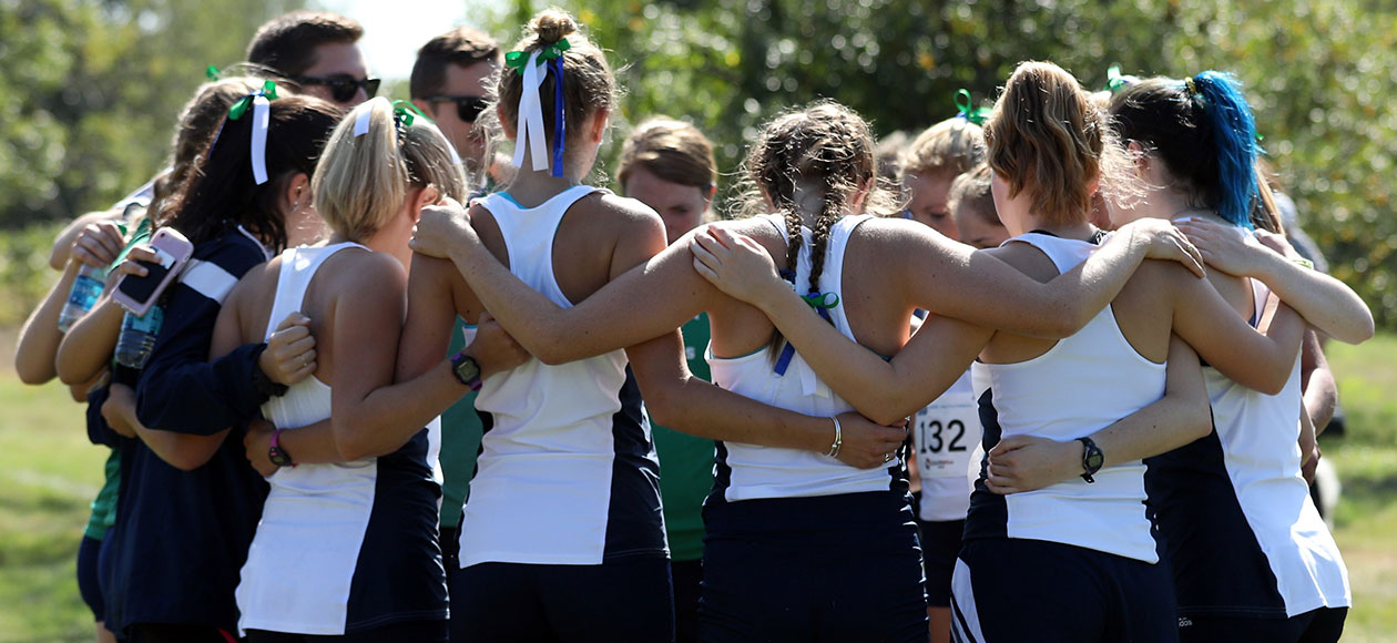 The Endicott women's cross country team huddles up.