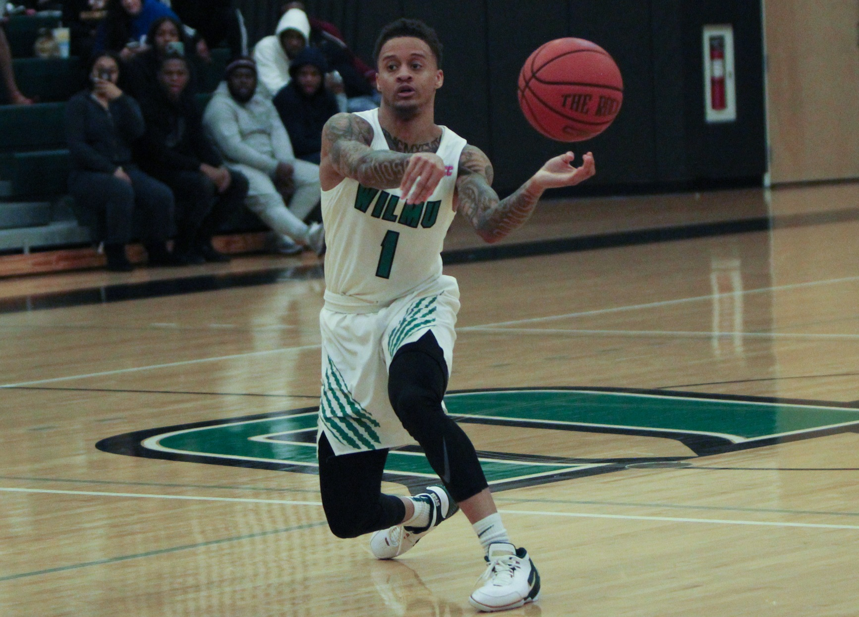 File photo of Jermaine Head who dished out 14 assists while scoring 17 points at Caldwell. Copyright 2020; Wilmington University. All rights reserved. Photo by Samantha Kelley. February 4, 2020 vs. Chestnut Hill.