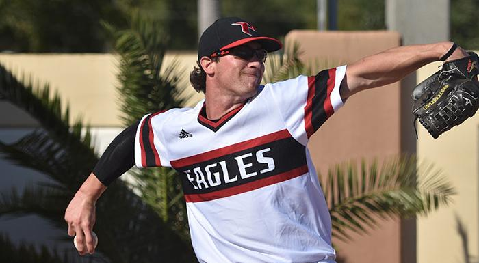 Jordan Spicer pitched five shutout innings and earned the win as the Eagles defeated Lake-Sumter 4-3 to start the 2017 season. (Photo by Tom Hagerty, Polk State.)