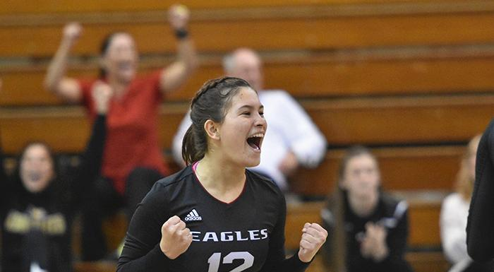 Nicole Boots rejoices after the Eagles earned their fourth straight win. (Photo by Tom Hagerty, Polk State.)