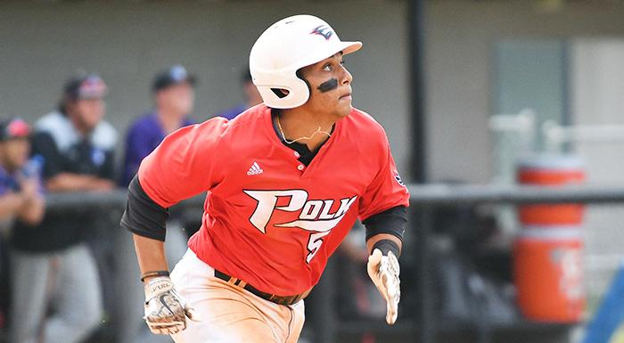 Trent Sinkfield homered for the third straight game as the Eagles beat the Manatees 9-3. He also had four RBI for the second consecutive game. (Photo by Tom Hagerty, Polk State.)