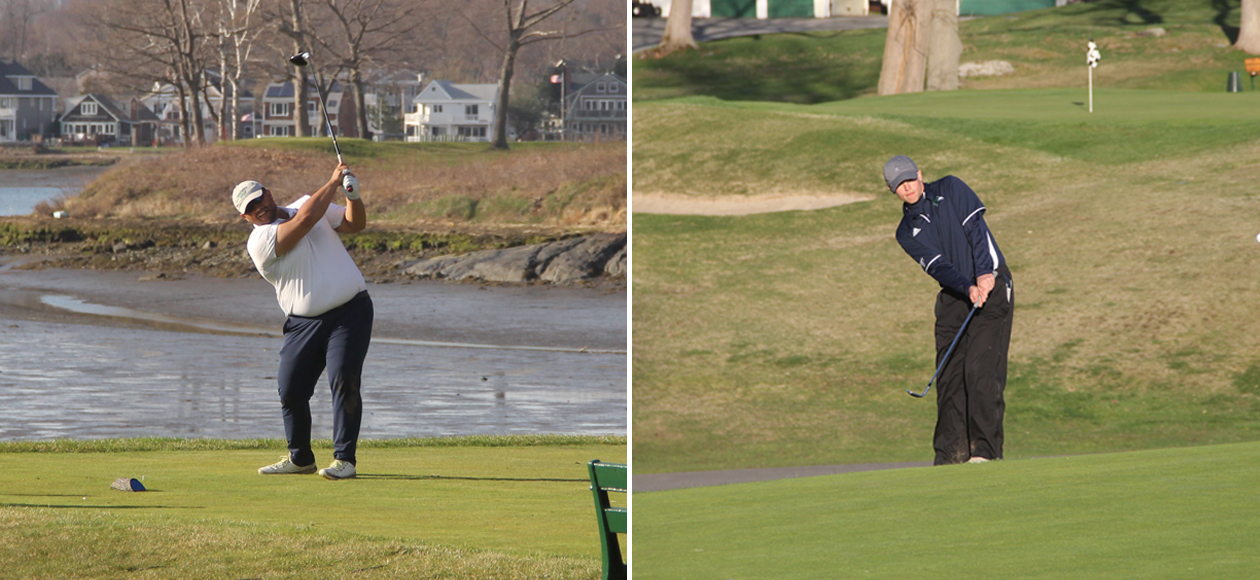 Split image of Athan Goulos taking his tee shot on the left, and Ben Palazzo chipping onto the green on the right.