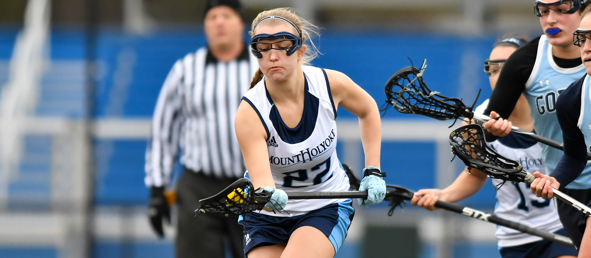 Action photo of Lyons senior lacrosse player, Julia Lankin.