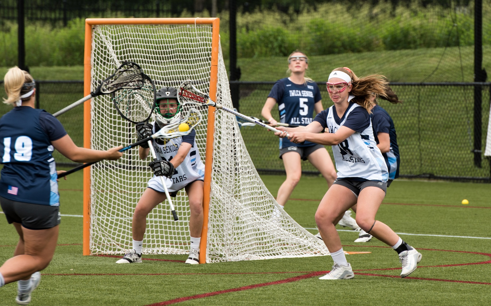 Rachel Henderson plays defense in the IWLCA Division III senior all-star game