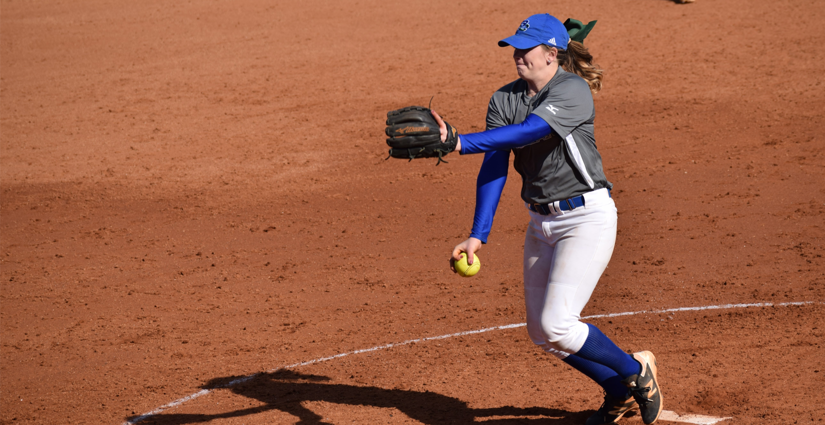 Faith Flanders delivers a pitch against Albany State.