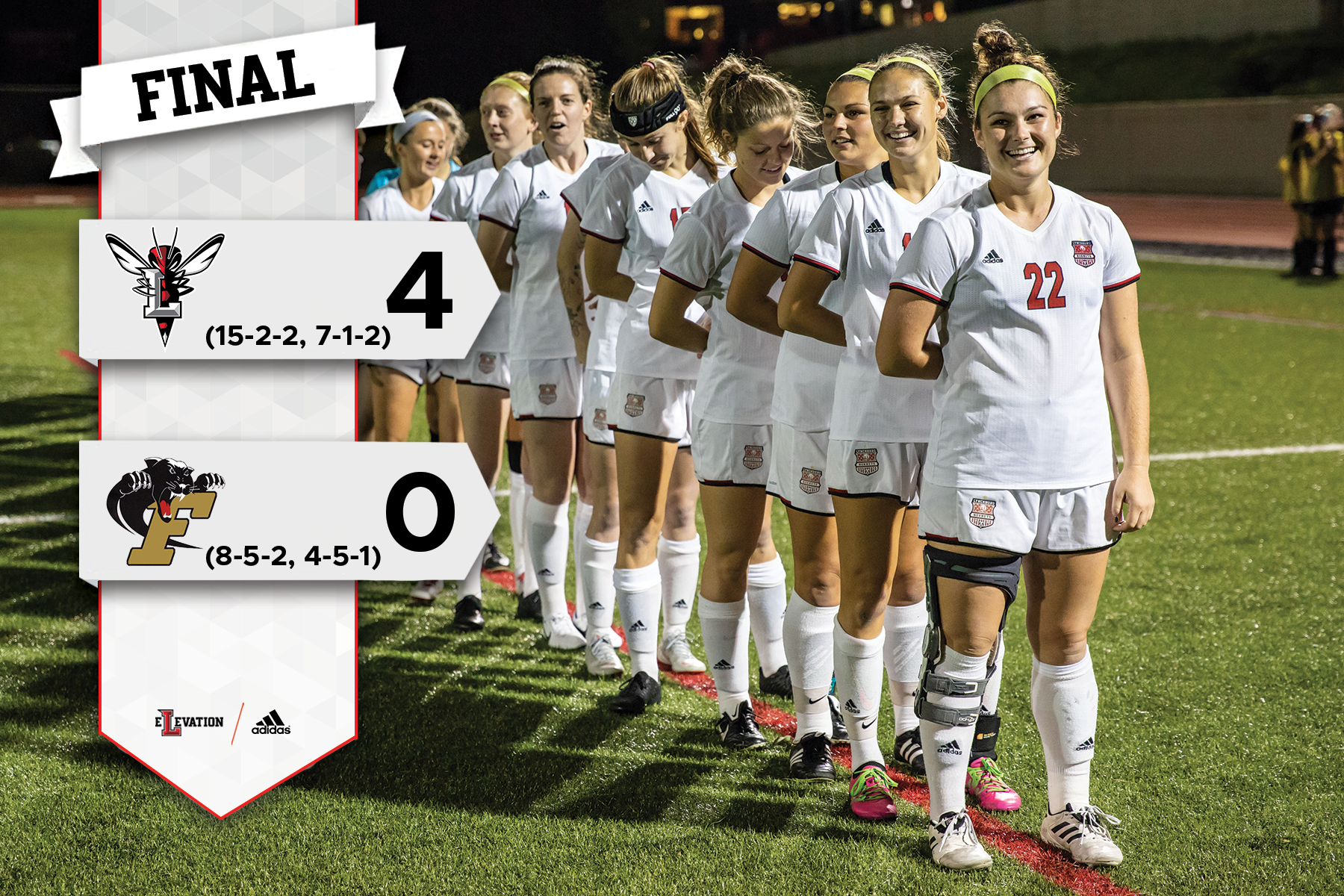 Lynchburg women's soccer lines up for the national anthem. Graphic showing 4-0 final score.