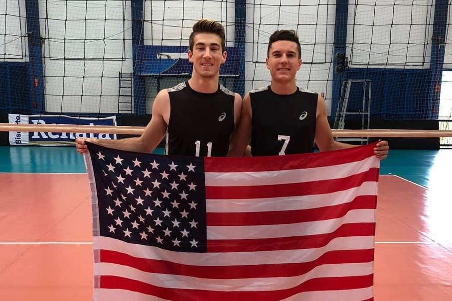 Andrew Reina and Grant Nelson (left to right) compete with the USA D-3 Volleyball Team in the 2019 Brazil Tour.