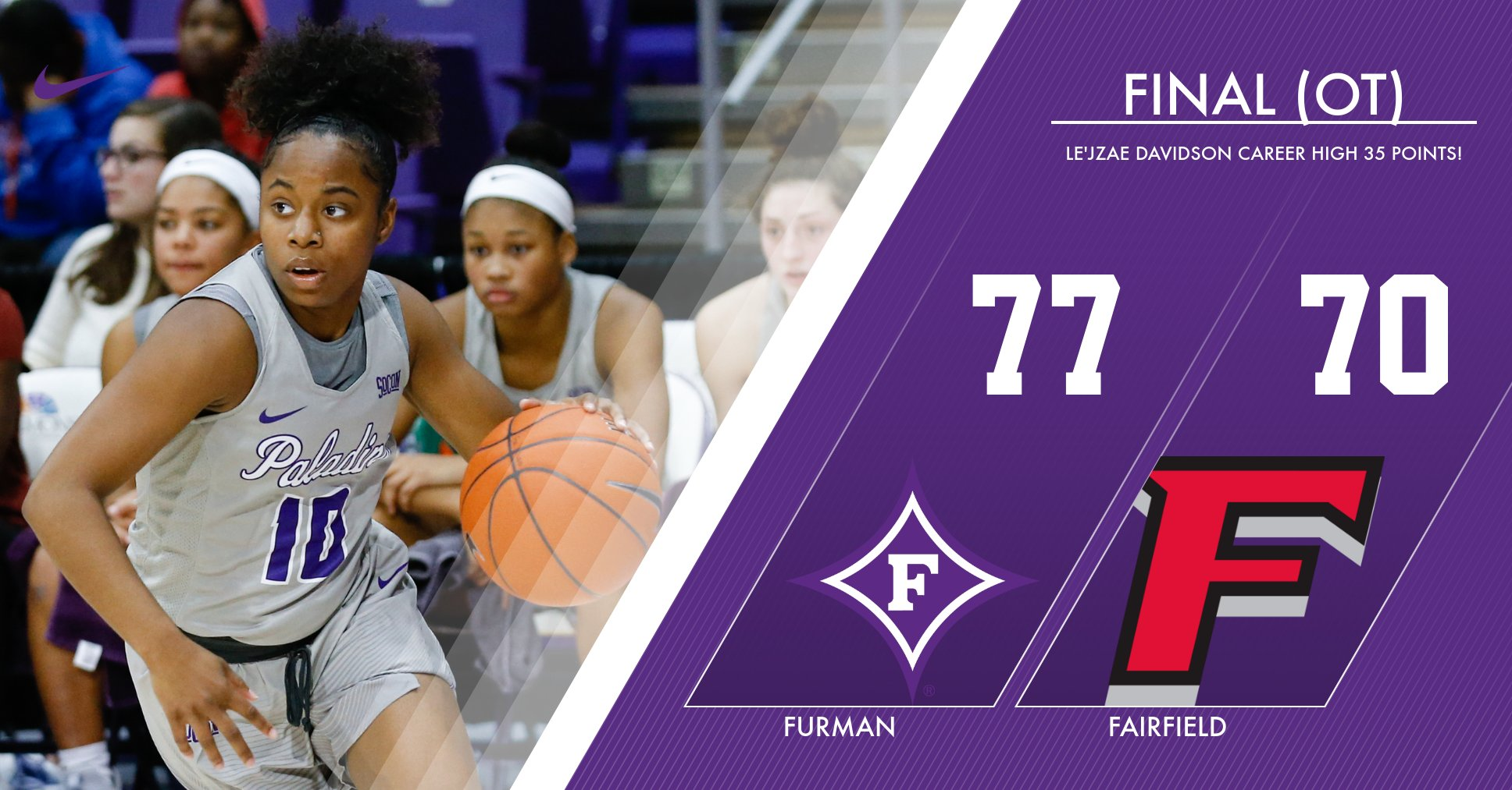 Davidson's Career High 35 Propels Furman Past Fairfield, 77-70 (OT)