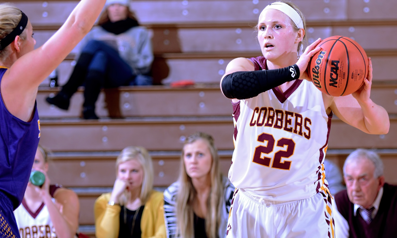 Senior Olivia Johnson scored 20 points and grabbed 10 rebounds to help the Cobbers beat Hamline 47-34 and clinch a spot in the MIAC playoffs.