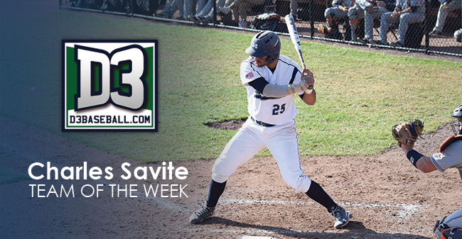 Savite Named to D3baseball.com Team of the Week