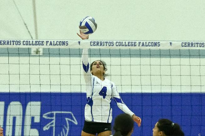 File Photo: Nicole Spigner (4) had seven aces and five kills for the Falcons in their win