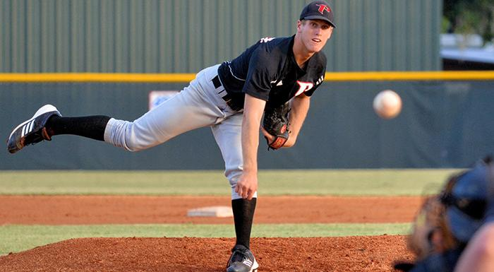 Brad Labozetta pitched six scoreless innings as the Eagles beat South Florida 12-2. (Photo by Tom Hagerty, Polk State.)