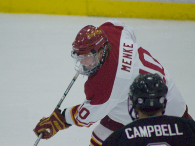 Justin Menke and his Ferris State teammates are ranked 11th this week in two national college hockey polls.