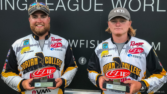 Zach Graham, left, and Myles Jackman led four Adrian College boats with a victory at the Fishing League Worldwide Northern Conference Event #2 on Saturday. (Photo courtesy of FLW Communications)