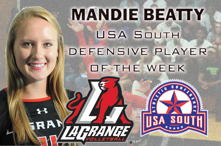 Volleyball: Mandie Beatty selected as USA South Defensive Player of the Week