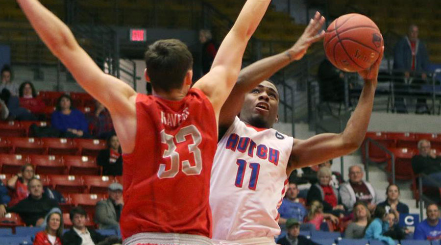 J.J. Rhymes scored 25 points in an 81-74 loss to Cowley on Wednesday in Arkansas City. (Joel Powers/Blue Dragon Sports Information)