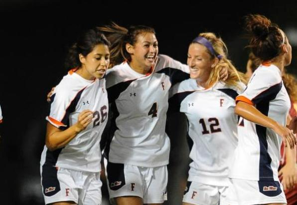 2012 women's soccer home opener, Aug. 17, Titan Stadium, Fullerton, Calif.. Photo by Matt Brown