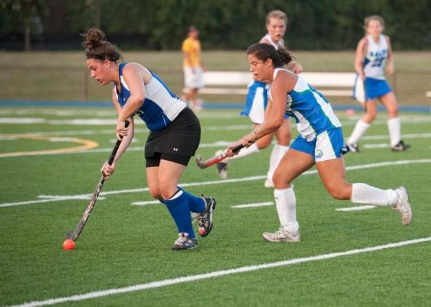 Lisa Bucci '14 (right) scored three goals to lead Salve Regina in a non-league 7-3 victory over visiting Regis.