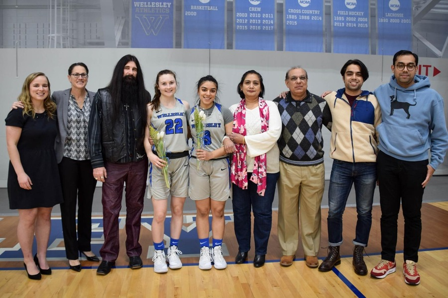 The Blue recognized seniors Zojajha Ayub and Laura McGeary prior to Saturday's game (Julia Monaco).