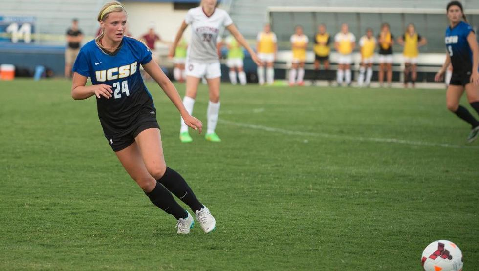Mallory Hromatko, pictured, had a pair of assists as UCSB defeated Texas 2-0 on Friday night (photo by Tony Mastres)