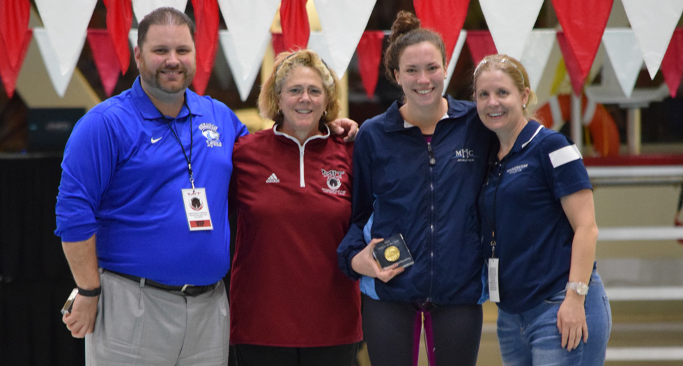 Swimming & Diving Finishes 9th at NEWMACs; Pruden Named Swimmer of the Year