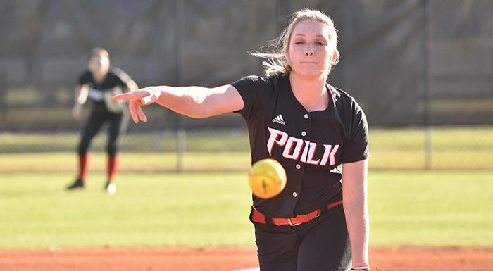 Danielle Gizoski pitched a complete-game shutout as the Eagles split a doubleheader with Palm Beach. (Photo by Tom Hagerty, Polk State.)