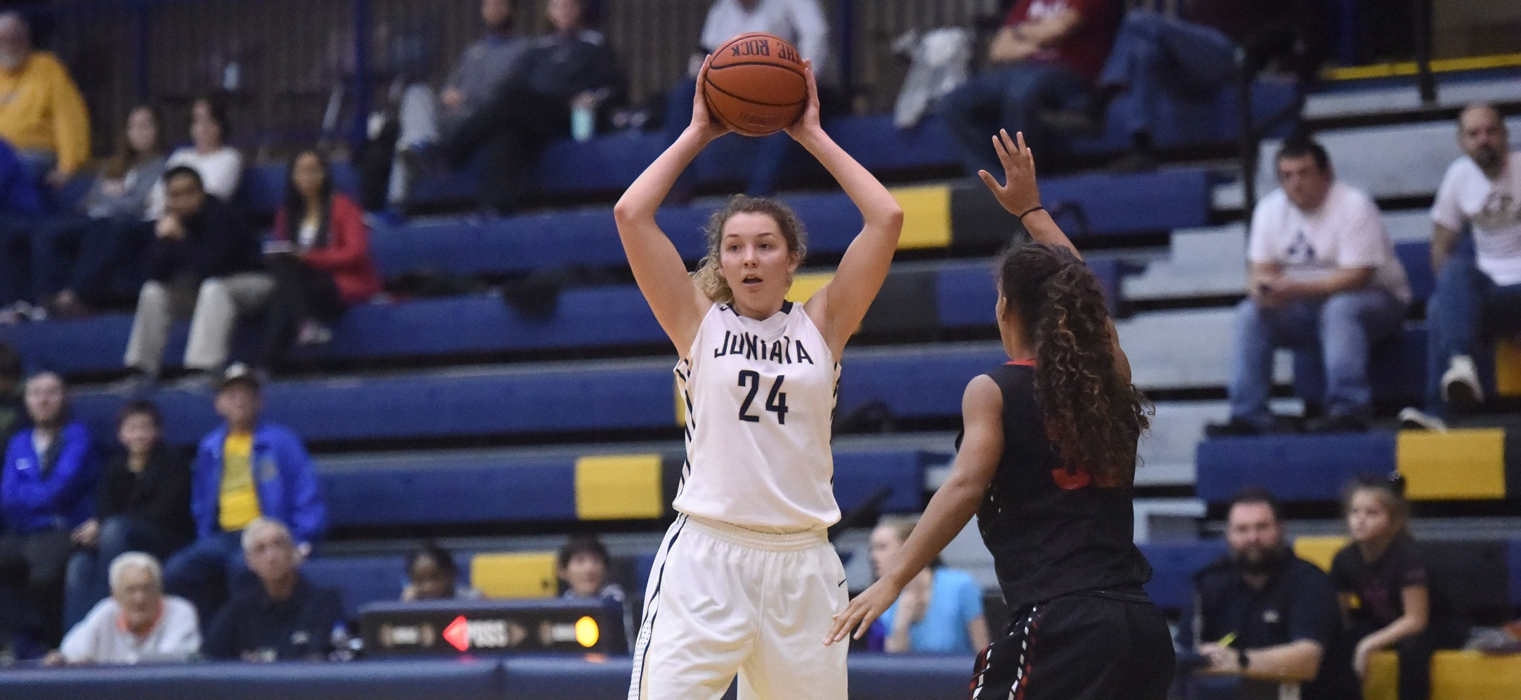 Morgan Instone had a team-high 11 points with five blocks as Juniata advanced past Piedmont in the NCAA Tournament.