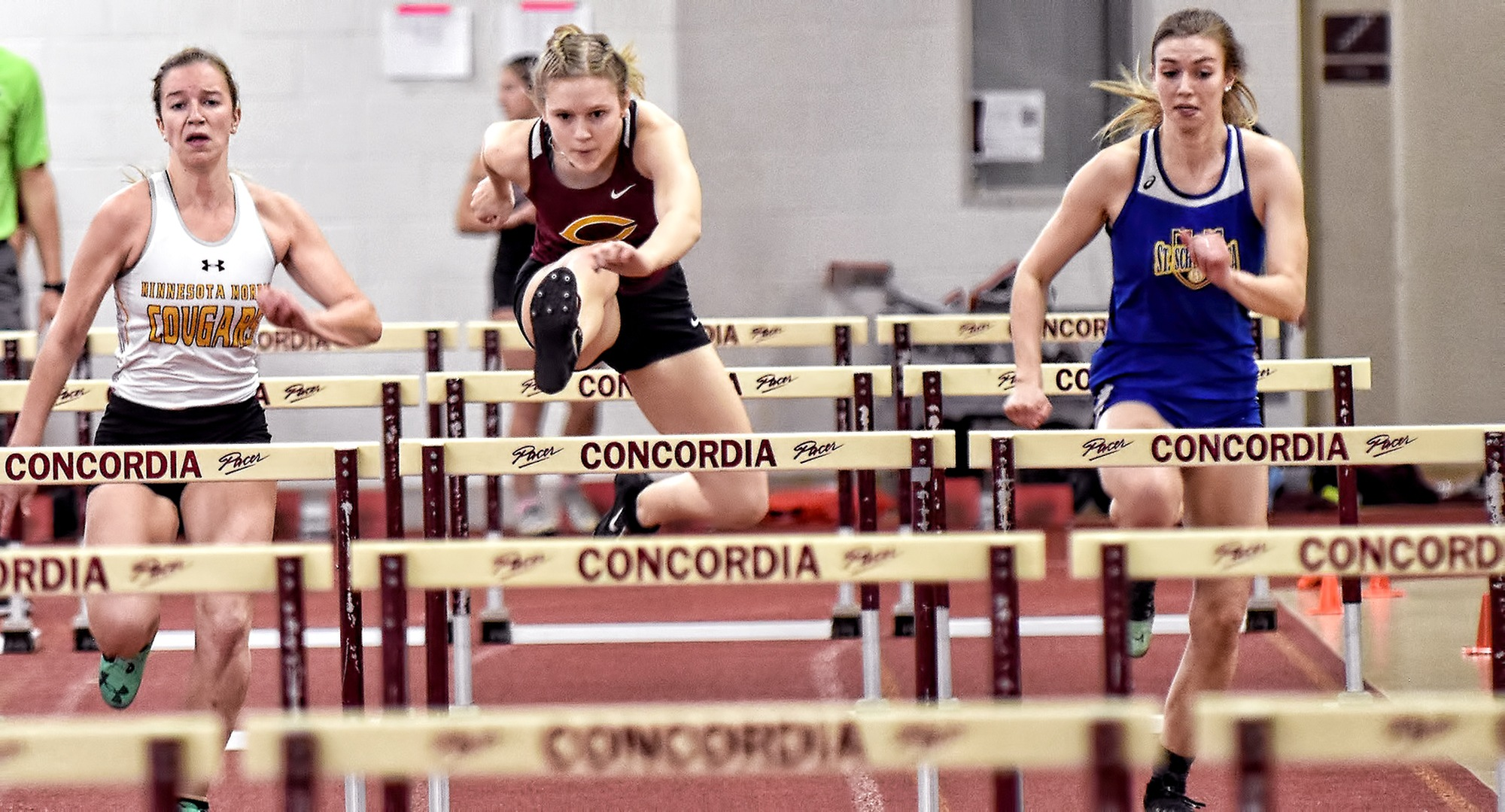 Sophomore Nicole Lilleberg races past the competition on her way to winning the 60-meter hurdles at the season-opening Cobber Open.