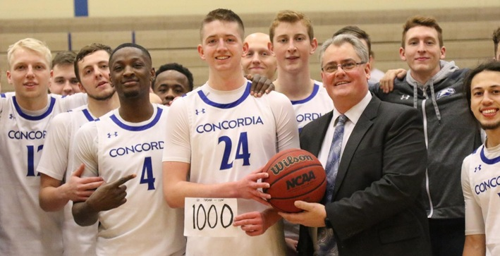 Johnson scores 1,000th point, Falcons earn gritty victory