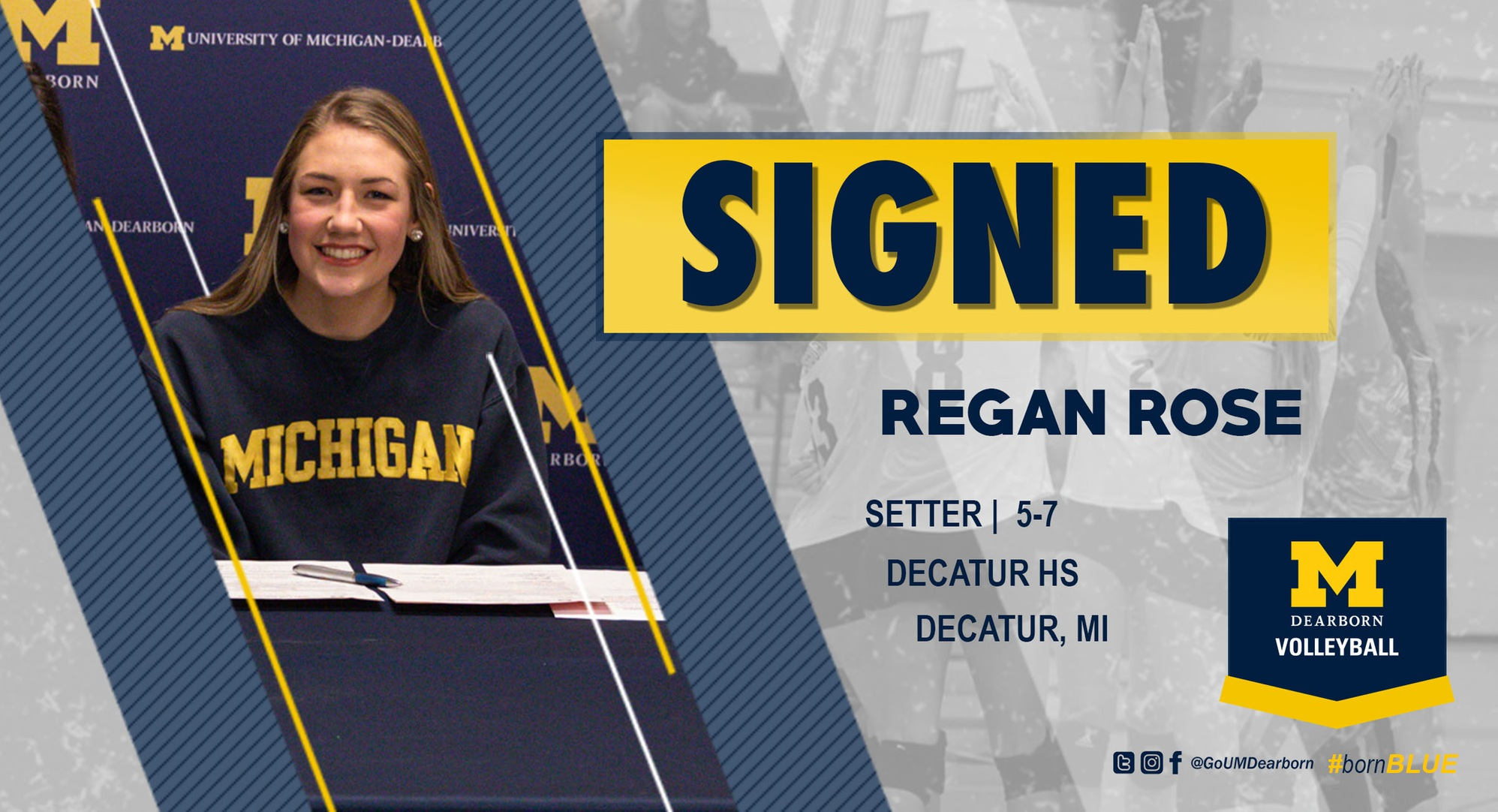 UM-Dearborn Volleyball inks Regan Rose to Class of 2020