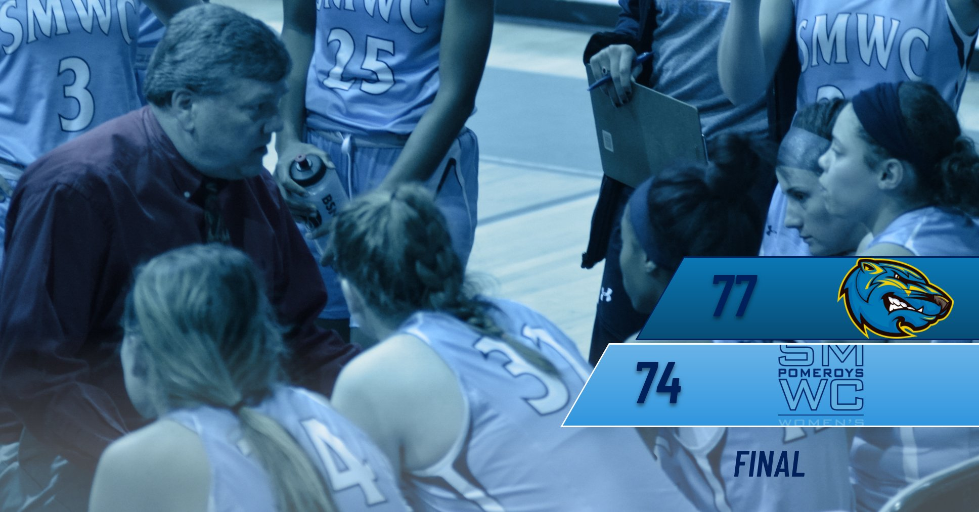 Pomeroys Can't Hold First Half Lead, Lose 74-77 against Brescia