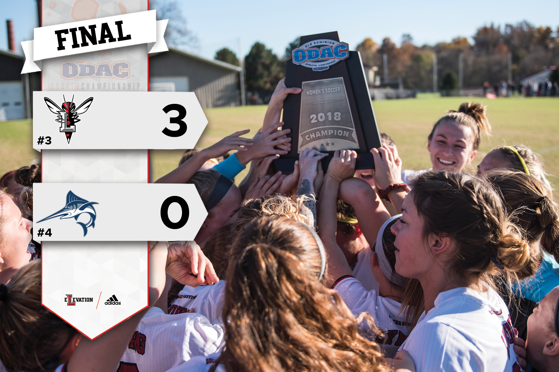 Women's soccer team hoists the ODAC championship trophy.