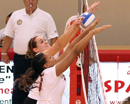Spartans Meagan Burke and Jackie Neff tallied three blocks each in the sweep of the Sharks