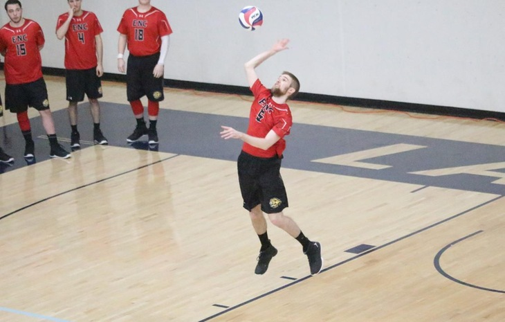 Men's Volleyball Picks Up 3-0 Win at Lesley