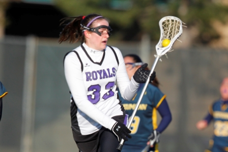 Sophomore attacker Kerry Sullivan scored the 100th point of her career in the Royals' 18-3 win over Wells College on Thursday.