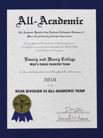 Emory & Henry Men's Cross Country Receives National Academic Recognition