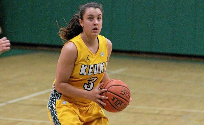 Senior Danielle Gravel scored 18 points in Keuka's loss to first-place Lancaster Bible College Friday night (photo courtesy of Ed Webber, Keuka College Sports Information Department).