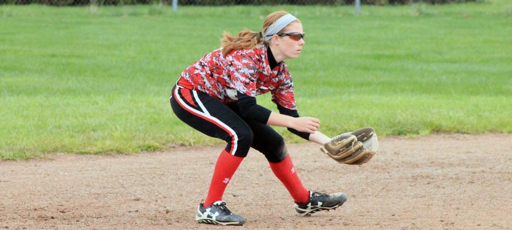 Emily Young gets ready for a play at short. Photo by Nicholas Huenefeld/Owens Sports Information