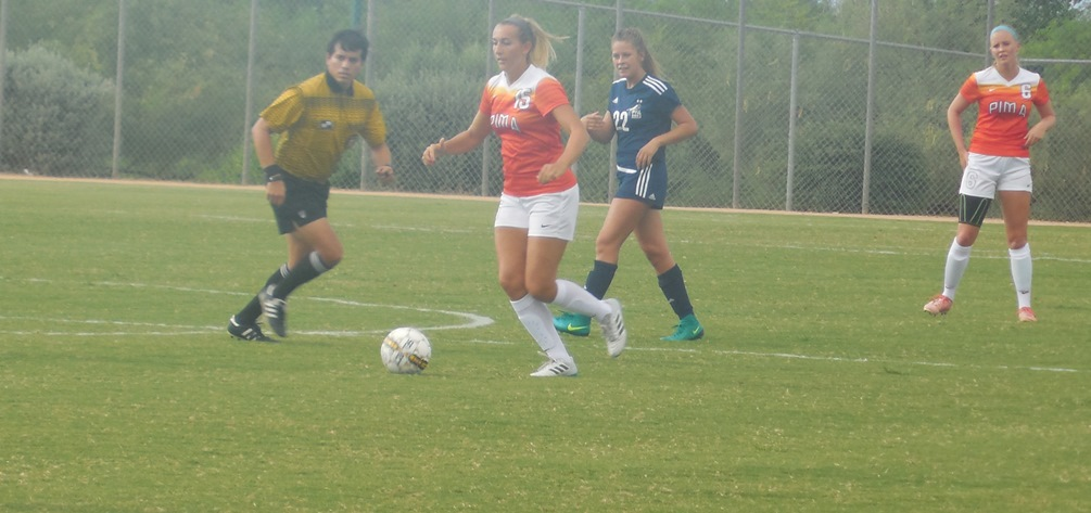 Sophomore Emily Gallagher put the Aztecs on the board with her goal as they beat GateWay Community College 3-0. It is Pima's third straight win. Photo by Raymond Suarez