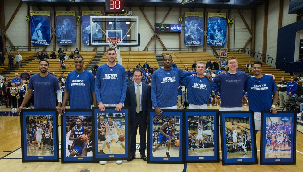 UCSB's seniors (seen here) went out in style on Saturday night in an 86-61 win over Cal Poly. (Photo by Eric Isaacs)