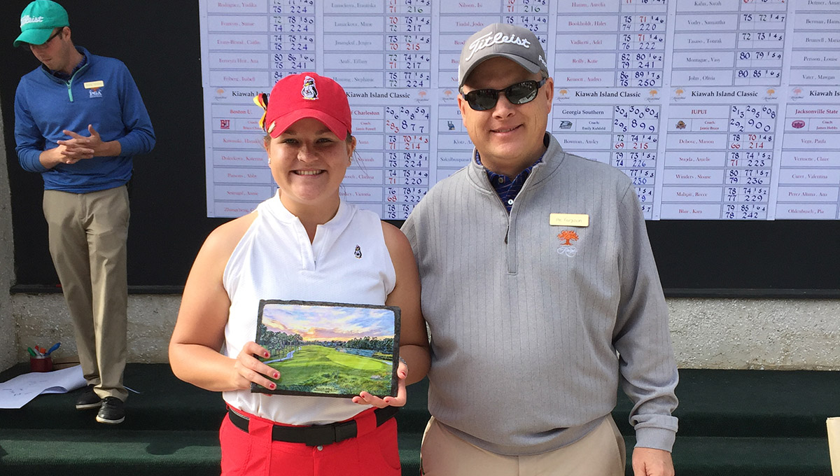 Katlyn Shutt broke her own school record for best 54-hole score at the Kiawah Island Spring Classic.