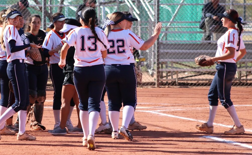 The Aztecs softball team was swept at No. 3 Phoenix College (Division II) falling 7-0 and 7-3. The Aztecs are now 12-11 overall and 8-8 in ACCAC conference play. Photo by Stephanie Van Latum.