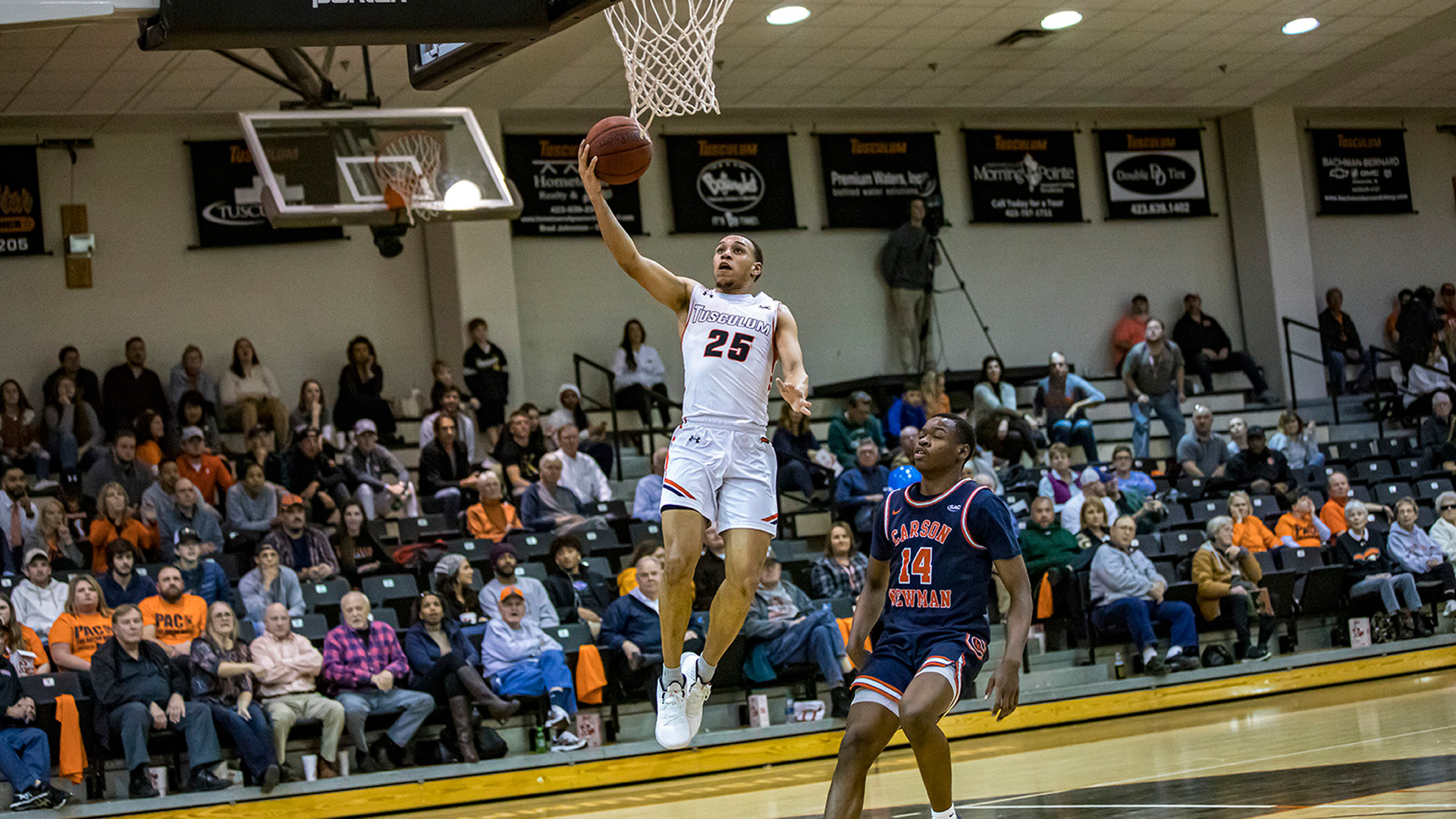 Dillon Smith scored 22 points to lead Tusculum to a 62-52 home win over Carson-Newman (photo by Chuck Williams)