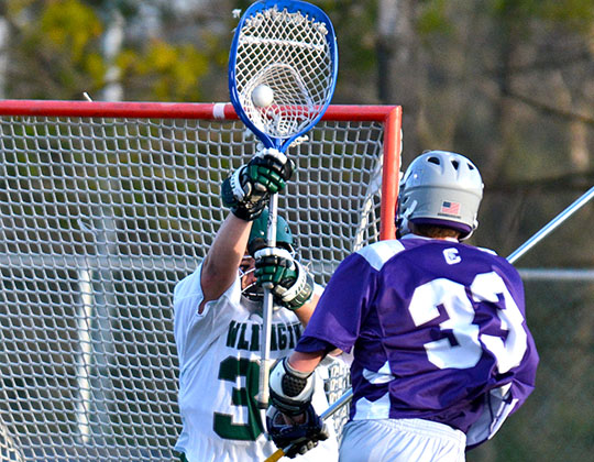 Freshman Paul Koerbel made 19 saves against Capital. (Wilmington photo/Randy Sarvis)