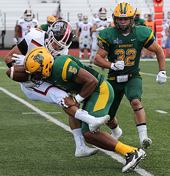 Cedric Campbell separates a St. Lawrence receiver from the ball. (Brockport athletics photo)