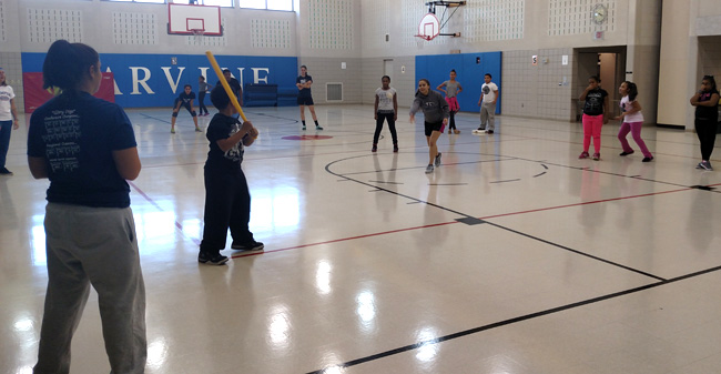 Moravian student-athletes teach skills to students at Marvine Elementary School